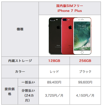 iPhone 7 Plus料金表